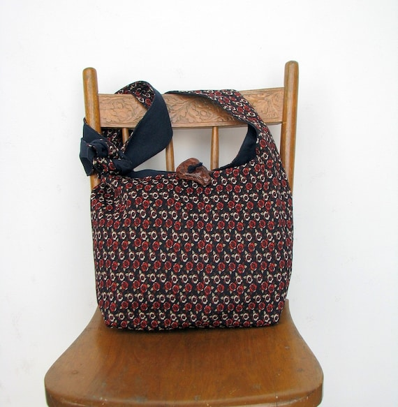 HOBO BAG Cross Body Bag Hippy Bag Vegan Purse Crossbody Hobo Bag Hippie Bag Slouch Bag Long Strap Navy Bag Retro Print Hobo Purse Boho Bag