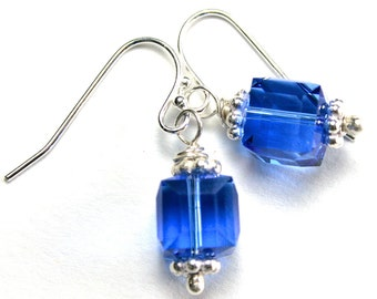 ON SALE- Swarovski Crystal Cube Earrings in Sapphire Blue- Handmade with Sterling Silver and Swarovski Crystal