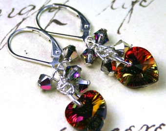 ON SALE- The Swarovski Crystal Heart Earrings in Volcano - Rainbow Hearts - Swarovski Crystal and Sterling Silver