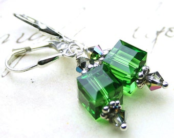 ON SALE- Green Crystal Cube Earrings - The Chantal Earrings in Fern Green - Handmade with Swarovski Crystal and Sterling Silver