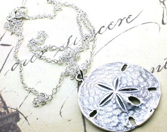 Sand dollar pendant etsy sterling silver sand dollar pendant sand dollar necklace all sterling silver aloadofball Images