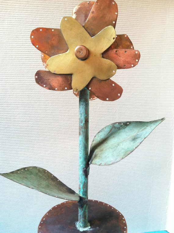 Valentine Flower Jewelry Stand. Brass & Copper Patina Flower with wood turned base Jewelry Display Fixture Holder