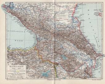 1900 Antique MAP of CAUCASIA