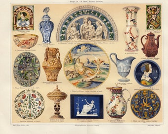 1895 Antique POTTERY lithograph,  European Pottery, 14-18 th, vases from Persia and ostatien