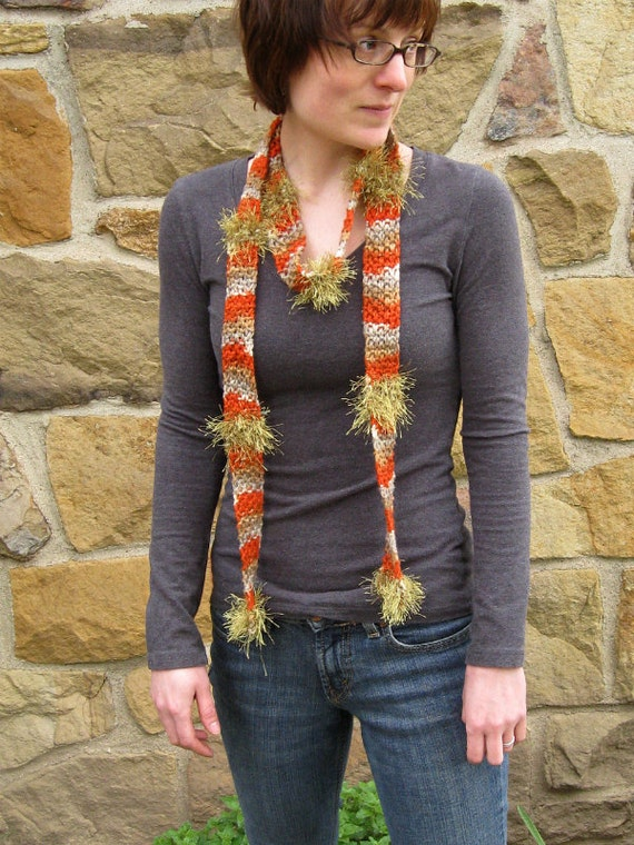Whimsical Orange Textile Necklace, hand knit fall autumn fiber statement accessory scarf in orange gray and olive green