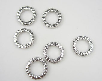 6 Silver Tierracast Small Hammertone Rings