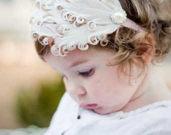 Butter Cream Ivory Feather Headband Perfect Photo Prop on a soft and stretchy elastic