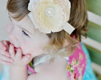 Champagne Ivory Flower Headband with Ivory Elastic Pearls Diamonds Newborn Infant Toddler Girl Adult
