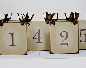 Table numbers wedding, rustic table numbers, vintage inspired brown wedding table numbers, set of 10 dual sided number tents, wedding decor