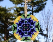 Glass Suncatcher Purple Petunia Boho Chic Mandala New Age Sacred Geometry Hippie Kaleidoscope Mod Gypsy Unique Gift For Her Viva La Violet