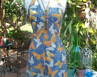 70s BUTTERFLY PRINT DRESS--Butterfly Sugar Baby--Halter--Upcycled--Handmade