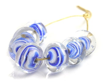 Lampwork Beads | Blue and White Lampwork Glass Beads | Blue Swirls Handmade Bead Set | Flameworked Beads | UK SRA artisan beads