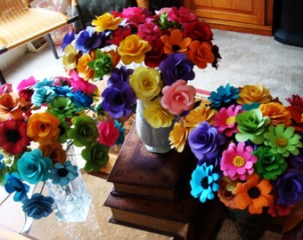 Paper Flowers In Bright or pastel colors QTY  50.  Cutstom Order Special Order You choose your colors