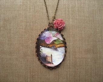 Thumbelina Necklace (magnifying pendant. art book illustration. fairytale jewelry. antique whimsical jewellery)