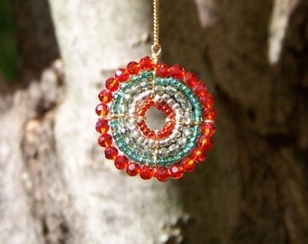 African Beaded Necklace, Turquoise and Orange (Small)