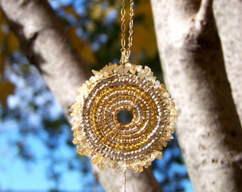 Citrine Necklace, Beaded Statement Necklace, African Necklace (Large)