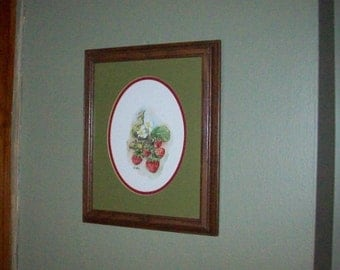 Vintage watercolor strawberries framed Minnesota artist
