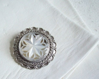 Vintage sterling brooch pendant mother of pearl Jersulem handmade Free shipping to USA