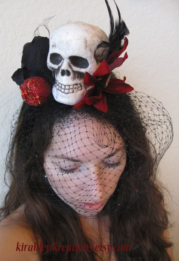SLEEPING DEATH --- Skull Red Apple Black Rose Headband Birdcage Veil Rimmed Red Crystals Halloween Costume Headpiece Dark Bride Goth Wedding