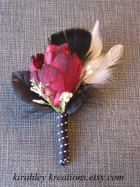 SEVANN -- Dark Red, Black and White Rose, Feather and Foliage Rockabilly or Gothic Wedding Boutonniere