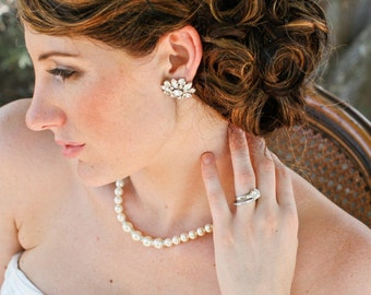 Pearl Bridal Bracelet,Rhinestone Wedding Bridal Bracelet, Ivory or White Pearls,Statement Bridal Bracelet,Wedding Pearl Bracelet,MARTINA