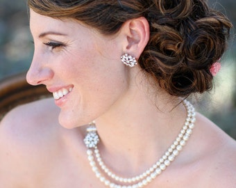 bridal pearl and crystal necklace Statement Bridal necklace Wedding Rhinestone necklace swarovski crystal and pearl ivory pearl ALEXANDRA