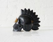 The WARRIOR.  a LARGE Obsidian Carved Skull w/  Live Air Plant