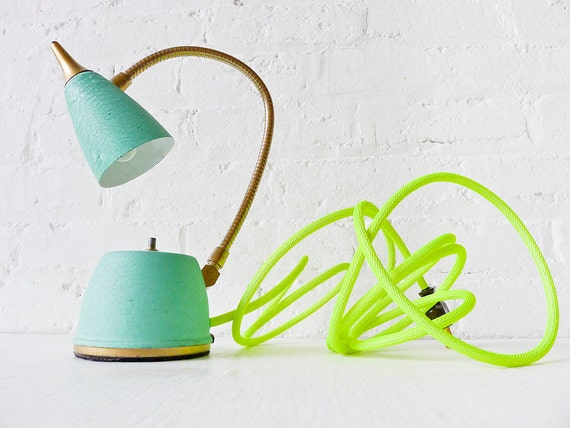 Vintage Lamp - Spring Fresh Mint Green Gooseneck w/ Neon Yellow Net Color Cord - Sconce Wall Table Home Bedroom Office Reading Light - OOAK