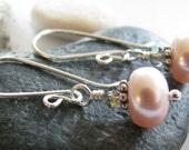 Pink Pearl Earrings,Black Diamond Swarovski, June Birthstone Jewelry, Bali and Argentium Silver Earring