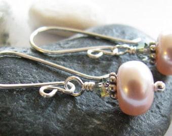 Half Price Pink Pearl Earrings,Black Diamond Swarovski, June Birthstone Jewelry, Bali and Argentium Silver Earring