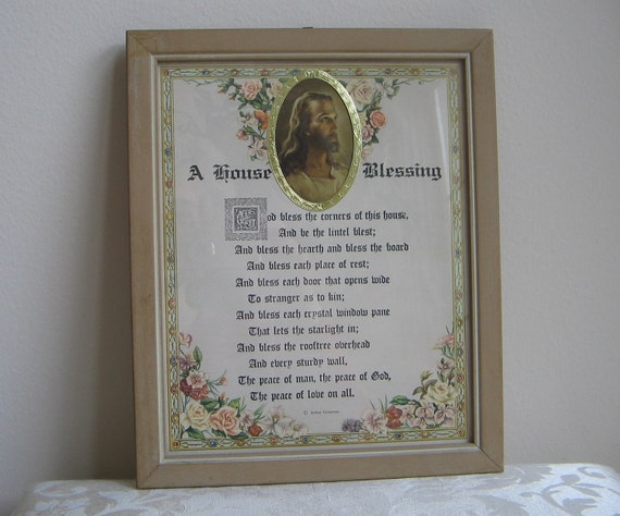 """Vintage Motto Art Print  """"A House Blessing""""  Poem by Arthur Guiterman, Jesus Religious Icon, Shabby Cottage Housewarming Gift"""