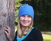 Cadet Blue Classic Adult Fleece Beanie Hat For Women And Men
