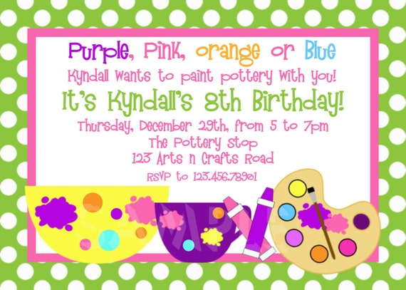 arts and crafts birthday party invitation art birthday, Birthday invitations