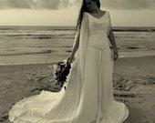 Celtic Wedding Dress with Chiffon Long Sleeves