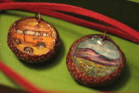 CUSTOM Acorn Necklace  --Your Choice Here--  Wearable Original Art