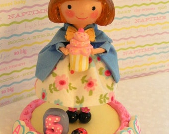 Madeline Doll,Madeline Party,Cake Topper, Custom Personalized Decorations,Little Girl, Kids, Toddler Baby Shower,Handmade Clay,Wood Doll,