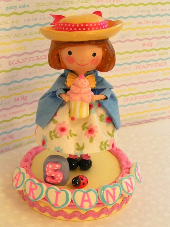 Made to Order~ Madeline Cake Topper Classic~Keepsake Gift Decoration~Sweet Little Girl~Kids& Baby~Personalized~ Handmade with Wood and Clay