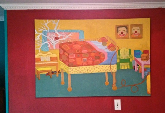 "Large Oil Painting, ""Elmer"" CANCER Awareness,  34""x50"""