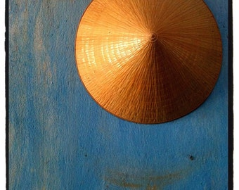 Travel Photography, Vietnam, Blue Wall, Yellow Hat, Conical, Round, Home Decor, Wall Art, Gold, Color Photographic Print, 8x10