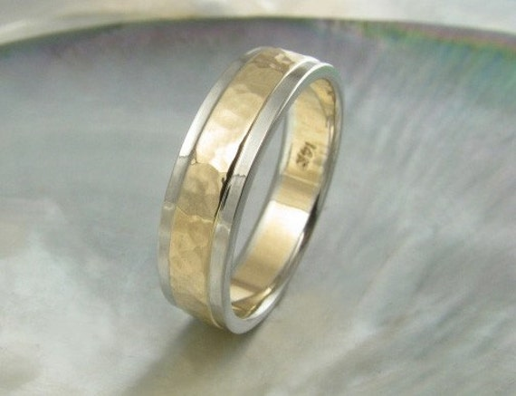 5mm two tone hammered wedding band for men or women in 14k gold with stepped edges