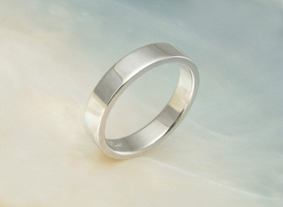 simple hand forged platinum wedding band / stacking ring / pipe band