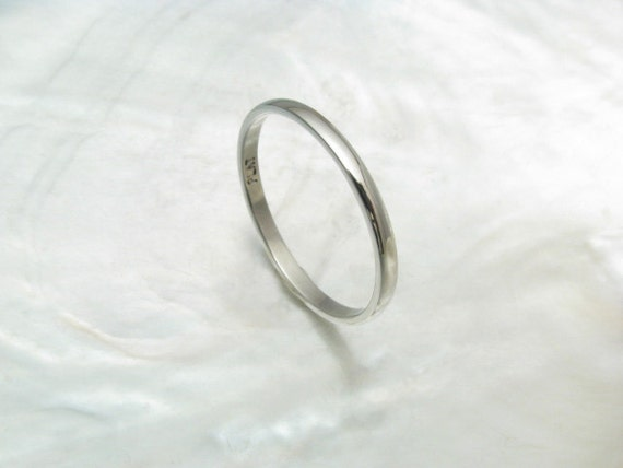 skinny 1.5mm platinum half round dome wedding band / stacking ring