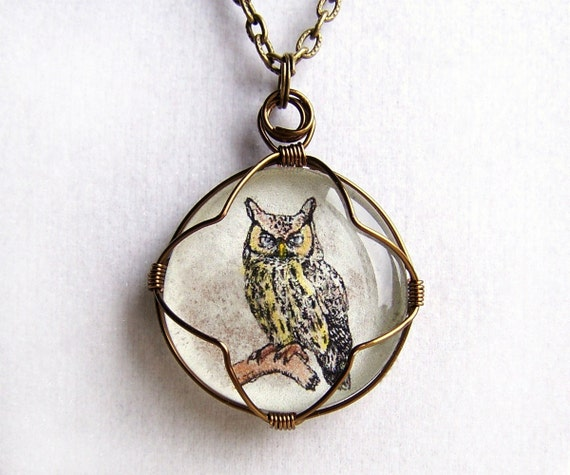 Owl Pendant - hand tinted owl wire wrapped in brass behind a glass cabochon  - Halloween Jewelry - Owl Necklace