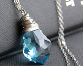 CLEARANCE / SALE - Light Blue Crystal Pendant Necklace, Aquamarine Swarovski Crystal Wire Wrapped Baroque Pendant, Sterling Silver Chain