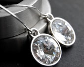 Clear Crystal Earrings, Swarovski Crystal Rivoli Drops, Clear Dangly Crystal Earrings,Sterling Silver Earwires