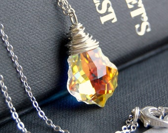 Pendant Necklace, Clear AB Aurora Borealis Swarovski Crystal Wire Wrapped Baroque Pendant, Sterling Silver Cable Chain, Fiery, Ice
