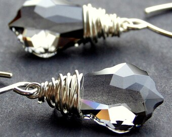 Gray Crystal Earrings, Black Diamond Swarovski Crystal Wire Wrapped Baroque Briolettes, Sterling Silver Earwires