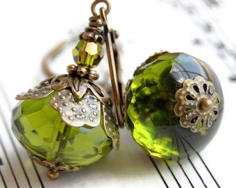 Green Glass Earrings, Olive Green Czech Glass Rondelles, Vintage Style with Antique Brass Beadcaps and Leverbacks