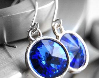 Blue Earrings, Sapphire Blue Swarovski Crystal Rivoli Drops, Handmade Sterling Silver Earwires, Circle Dangle, Sky Blue, Royal Blue, Ocean