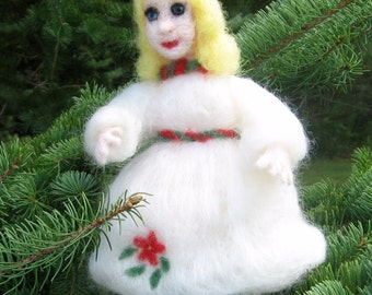 Needle felted Christmas Maiden Tree Topper